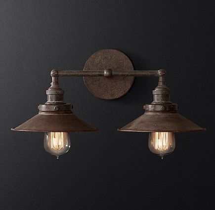 Бра Restoration Hardware 20TH C. FACT FILAMENT METAL DOUBLE арт 68450211: фото 3