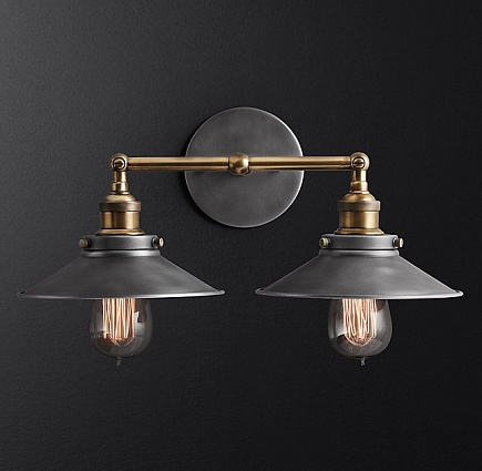 Бра Restoration Hardware 20TH C. FACT FILAMENT METAL DOUBLE арт 68450211: фото 1